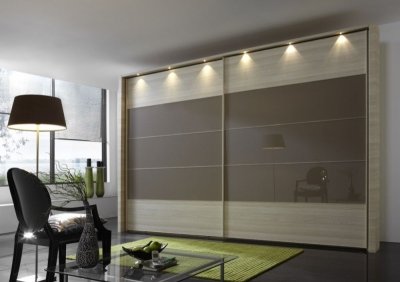 Wiemann Hollywood 4 Polar Larch Sliding Wardrobe with Line 2-3 and 4 in Sahara Glass - W 200cm-400cm