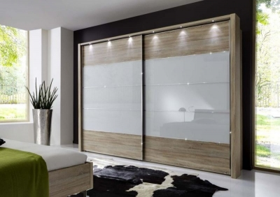 Wiemann Hollywood 4 Rustic Oak Sliding Wardrobe with Line 2-3 and 4 in White Glass - W 200cm-400cm
