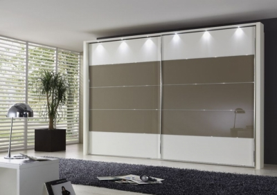 Wiemann Hollywood 4 White Sliding Wardrobe with Line 2-3 and 4 in Sahara Glass - W 200cm-400cm