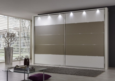 Wiemann Hollywood 4 White Sliding Wardrobe with Line 2-3 and 4 in Sahara - W 200cm-400cm