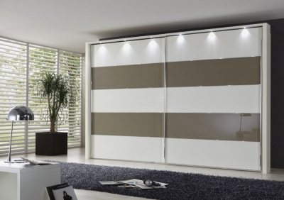 Wiemann Hollywood 4 White Sliding Wardrobe with Line 2 and 4 in Sahara Glass - W 200cm-400cm
