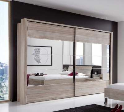 Wiemann Hollywood4 2 Door Sliding Wardrobe in Mirror Line 2 - 3 - 4 and Rustic Oak - W 250cm