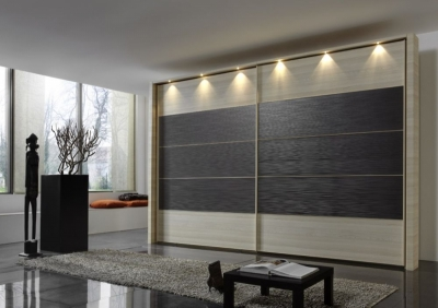 Wiemann Hollywood4 2 Door Sliding Wardrobe in Mocca Texture Line 2 - 3 - 4 and Light Ash - W 350cm x H 236cm