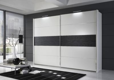 Wiemann Hollywood4 2 Door Sliding Wardrobe in Mocca Texture Line 3 and White - W 400cm x H 236cm