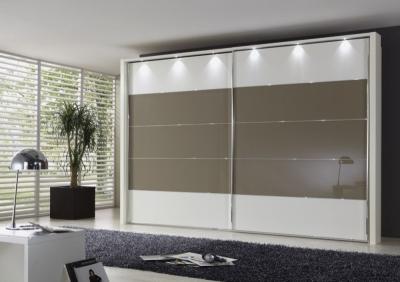 Wiemann Hollywood4 2 Door Sliding Wardrobe in Sahara Glass Line 2 - 3 - 4 and White - W 350cm x H 236cm
