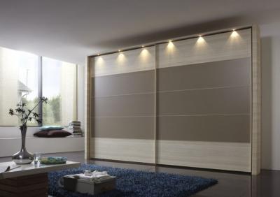 Wiemann Hollywood4 2 Door Sliding Wardrobe in Sahara Line 2 - 3 - 4 and Light Ash - W 300cm