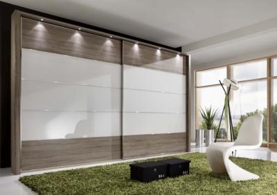 Wiemann Hollywood4 2 Door Sliding Wardrobe in White Glass Line 2 - 3 - 4 and Dark Rustic Oak - W 350cm x H 236cm