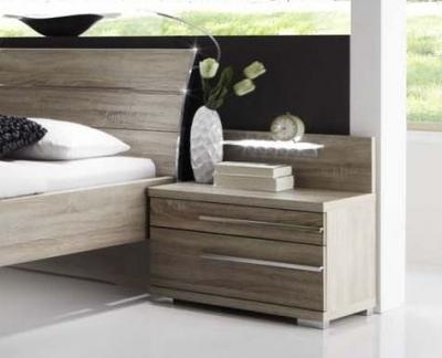 Wiemann Hollywood4 2 Drawer Bedside Cabinet in Dark Rustic Oak - (Left Handle)
