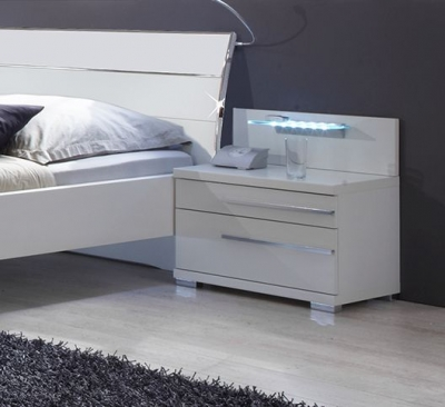 Wiemann Hollywood4 2 Drawer Bedside Cabinet in White - (Left Handle)