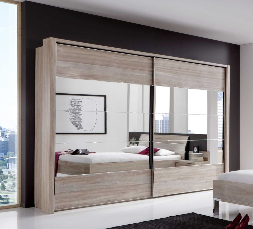 Wiemann Hollywood4 2 Door Sliding Wardrobe in Mirror Line 2 - 3 - 4 and Rustic Oak - W 250cm