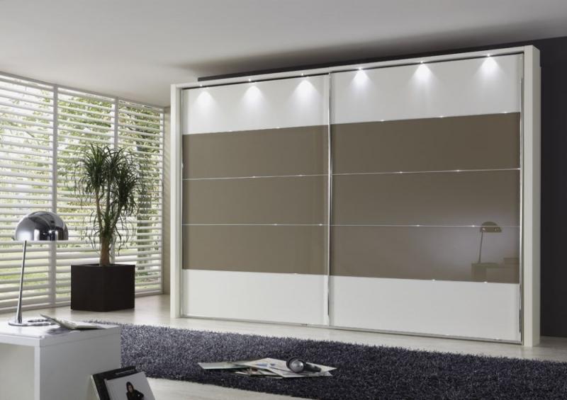 Wiemann Hollywood4 2 Door Sliding Wardrobe in Sahara Glass Line 2 - 3 - 4 and White - W 400cm x H 236cm