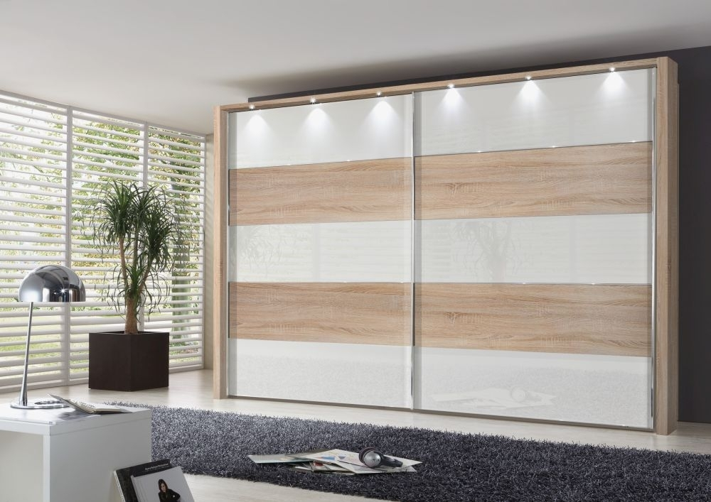 Wiemann Hollywood4 2 Door Sliding Wardrobe in White Glass Line 1 - 3 - 5 and Rustic Oak - W 400cm x H 236cm
