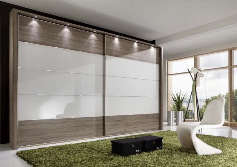 Wiemann Hollywood4 2 Door Sliding Wardrobe in White Glass Line 2 - 3 - 4 and Dark Rustic Oak - W 400cm x H 236cm