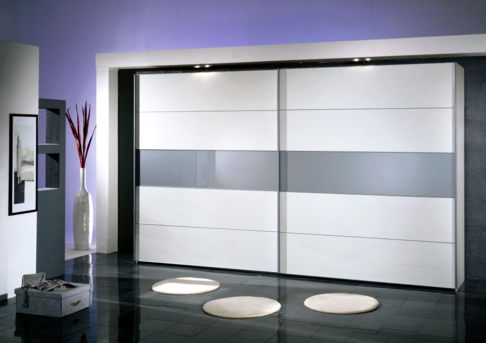 Wiemann Hollywood4 2 Door Sliding Wardrobe in White Glass Line 3 and Dark Rustic Oak - W 250cm