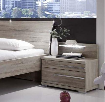 Wiemann Hollywood4 2 Drawer Bedside Cabinet in Rustic Oak - (Left Handle)