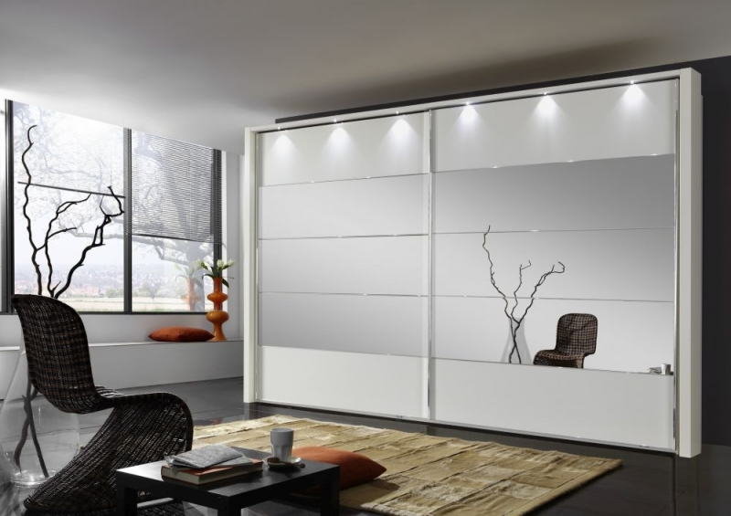 Wiemann Hollywood 4 White Sliding Wardrobe with Line 2-3 and 4 in Mirror - W 200cm-400cm