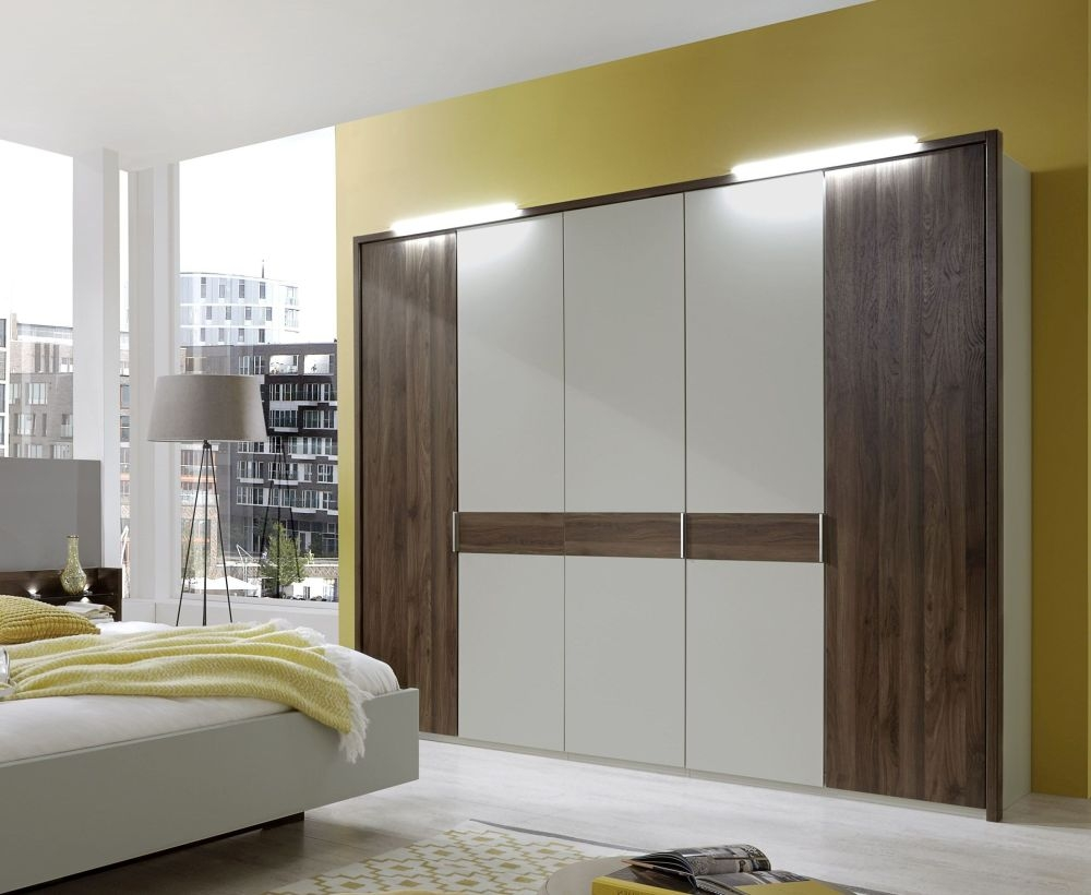 Wiemann Imola 5 Door 1 Mirror Wardrobe in Champagne and Nocce - W 250cm