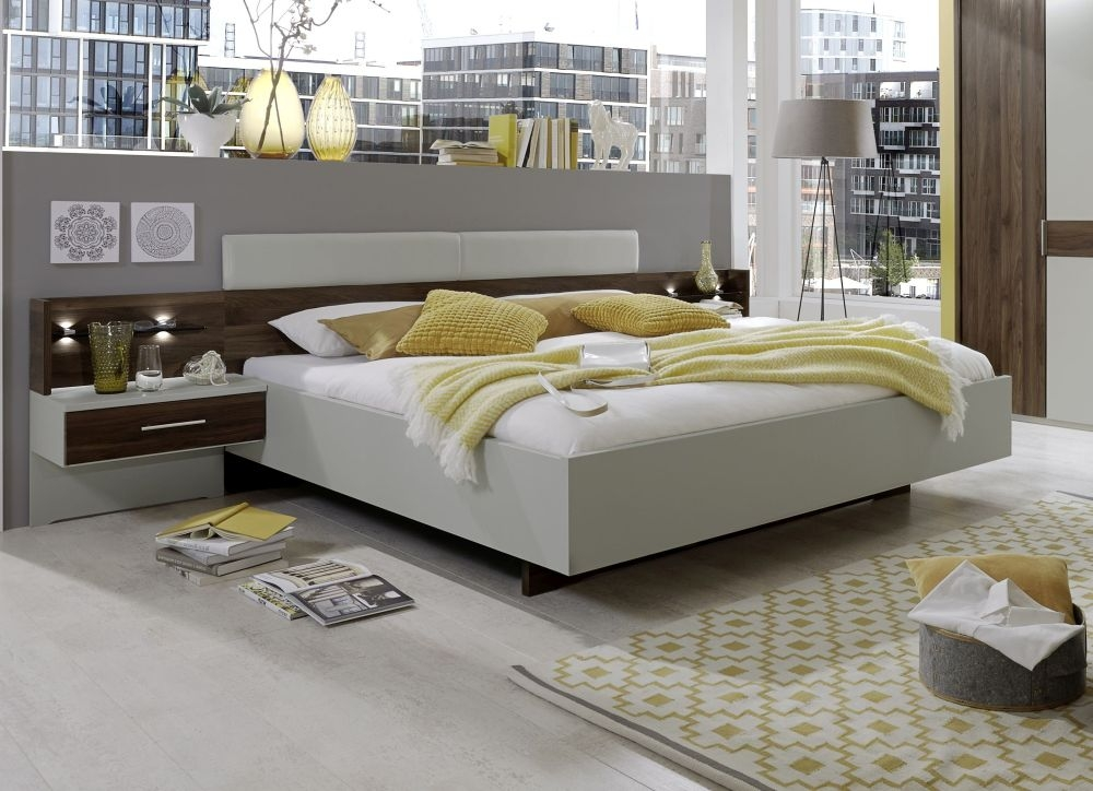Wiemann Imola 5ft King Size Leather Cushion Bed in Champagne and Nocce - 150cm x 200cm