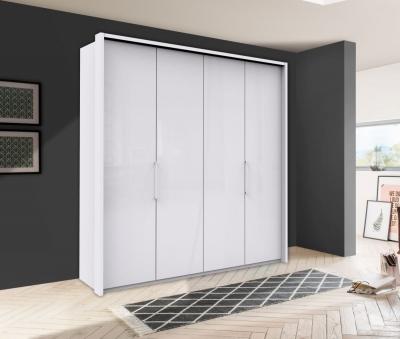 Wiemann Kansas 4 Door Bi-Fold Wardrobe in White Glass - W 200cm