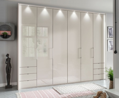 Wiemann Kansas 6 Door 6 Drawer Bi-Fold Wardrobe in Champagne Glass - W 300cm