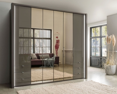 Wiemann Kansas 6 Door Bi-Fold Combi Wardrobe in Havana Glass - W 250cm