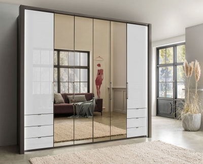 Wiemann Kansas 6 Door Bi-Fold Combi Wardrobe in Havana and White Glass - W 250cm