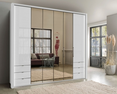 Wiemann Kansas 6 Door Bi-Fold Combi Wardrobe in White Glass - W 250cm