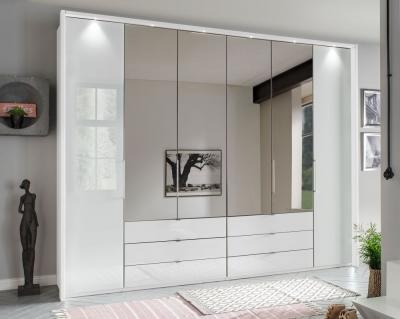 Wiemann Kansas 6 Door Bi-Fold Combi Wardrobe in White Glass - W 300cm