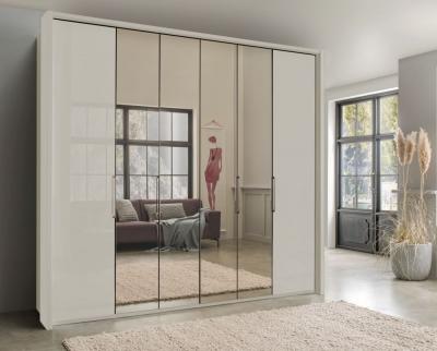 Wiemann Kansas 6 Door Bi-Fold Mirror Wardrobe in Champagne Glass - W 250cm