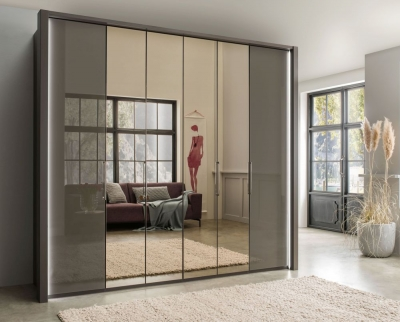 Wiemann Kansas 6 Door Bi-Fold Mirror Wardrobe in Havana Glass - W 250cm