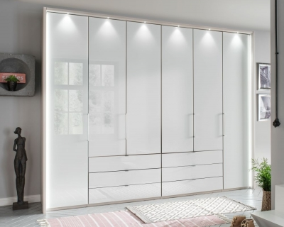 Wiemann Kansas 6 Door Bi-Fold Wardrobe in Champagne and White Glass - W 300cm