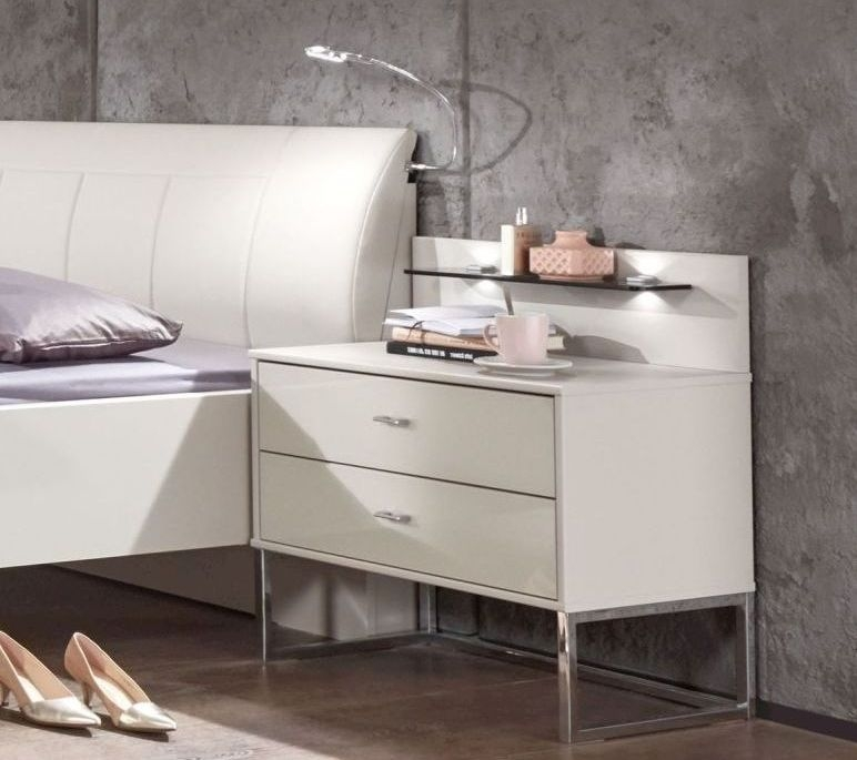 Wiemann Kansas 2 Drawer Narrow Bedside Cabinet in Champagne Glass - H 43cm