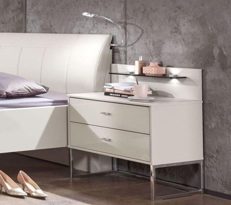 Wiemann Kansas 2 Drawer Wide Bedside Cabinet in Champagne Glass - H 43cm