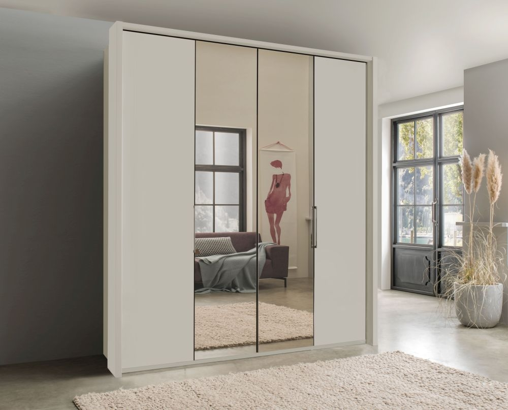 Wiemann Kansas 4 Door Bi-Fold Mirror Wardrobe in Champagne Glass - W 200cm