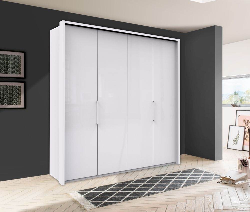 Wiemann Kansas 4 Door Bi-Fold Wardrobe in White Glass - W 200cm