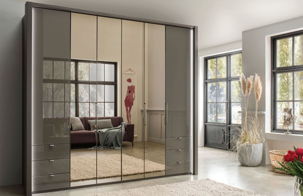 Wiemann Kansas 6 Door 6 Drawer Left and Right Bi-Fold Wardrobe in Havana - W 250cm