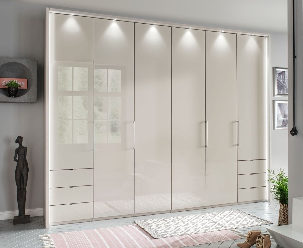 Wiemann Kansas 6 Door 6 Drawer Bi-Fold Wardrobe in Champagne Glass - W 300cm