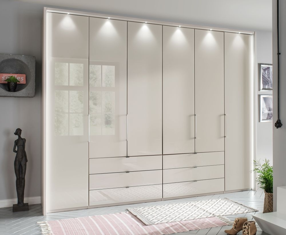 Wiemann Kansas 6 Door 6 Middle Drawer Bi-Fold Wardrobe in Champagne Glass - W 300cm
