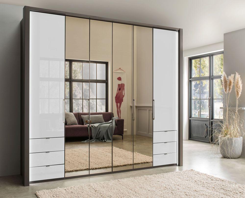 Wiemann Kansas 6 Door Bi-Fold Combi Wardrobe in Havana and White Glass - W 250cm