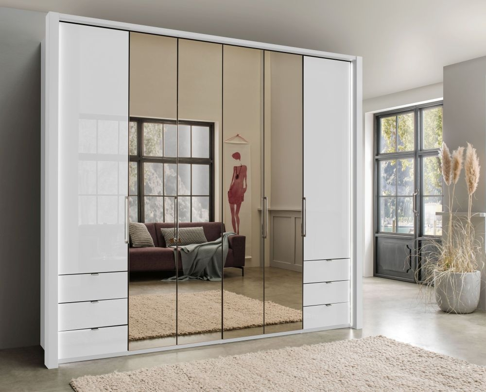 Wiemann Kansas 6 Door Bi-Fold Combi Wardrobe in White Glass - W 250cm