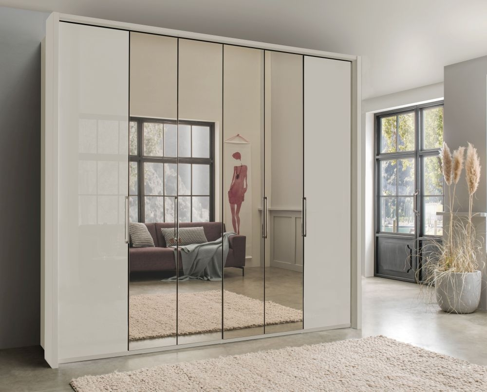 Wiemann Kansas 6 Door Bi-Fold Mirror Wardrobe in Champagne Glass - W 250cm