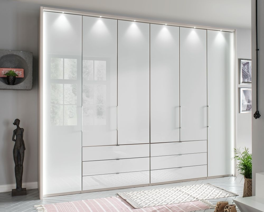 Wiemann Kansas 6 Door Bi-Fold Wardrobe in Champagne and White Glass - W 300cm