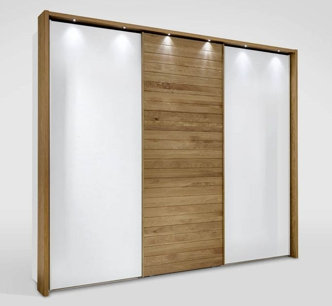 Wiemann Kentucky 3 Door Sliding Wardrobe in White and Solid Oak - W 250cm (Middle)