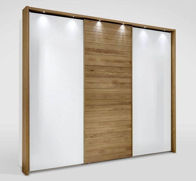 Wiemann Kentucky 4 Door Sliding Wardrobe in White and Solid Oak - W 350cm (Center)