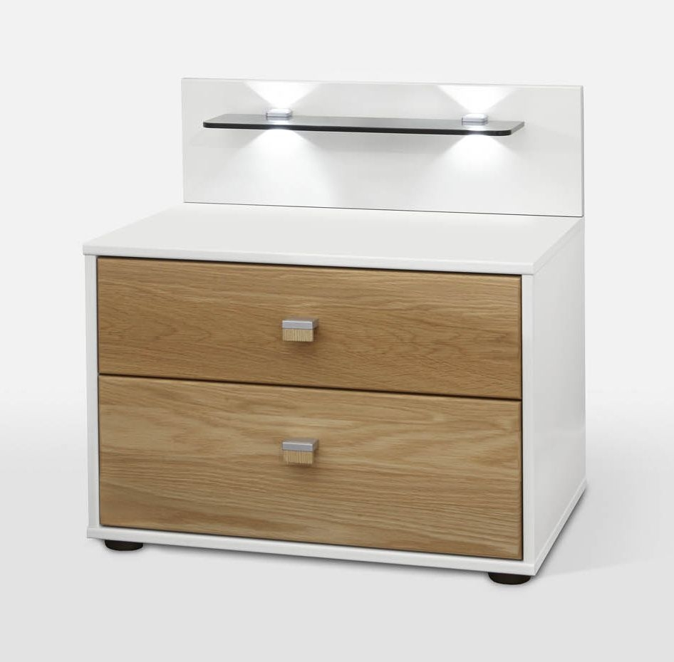 Wiemann Kentucky 2 Drawer Bedside Cabinet in White and Solid Oak