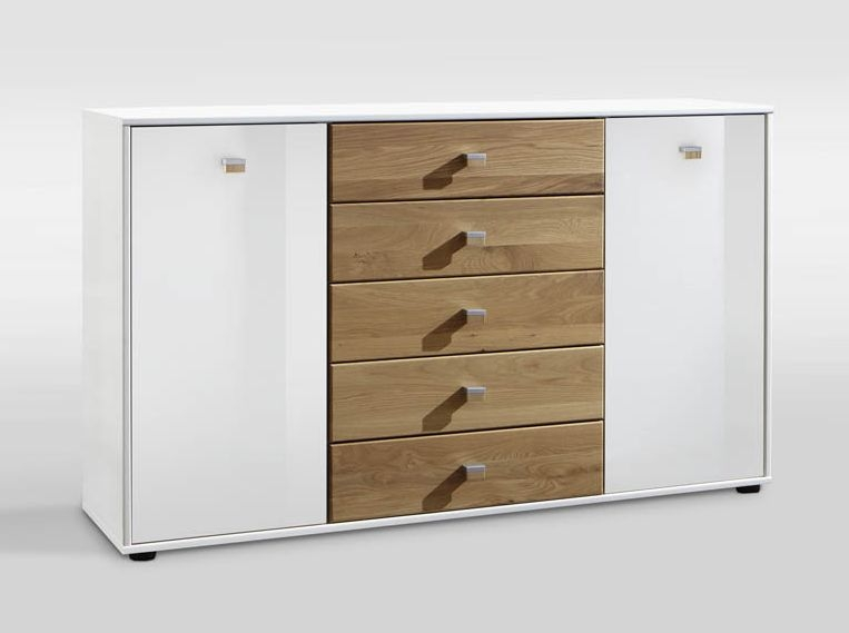 Wiemann Kentucky 5 Drawer Chest in White and Solid Oak