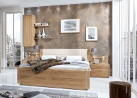 Wiemann Lido 53cm Bedside Height 6ft Queen Size Faux Leather Cushion Low Foot End Bed in Oak and Magnolia - 180cm x 200cm