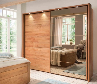 Wiemann Lido 3 Door 1 Mirror Sliding Wardrobe in Oak - W 250cm