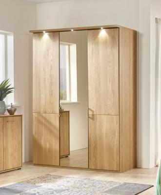 Wiemann Lido 3 Door Mirror Wardrobe in Oak - W 150cm