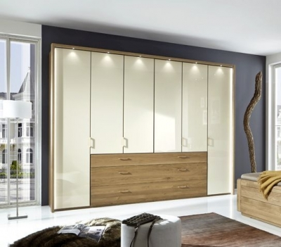Wiemann Lido 4 Door 3 Drawer Bi Fold Panorama Wardrobe in Oak and Magnolia - W 200cm